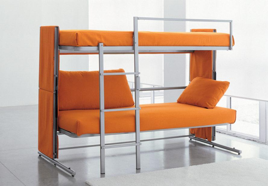desain-tempat-tidur-dari-sofa-warna-jingga-menjadi-tempat-tidur-tingkat
